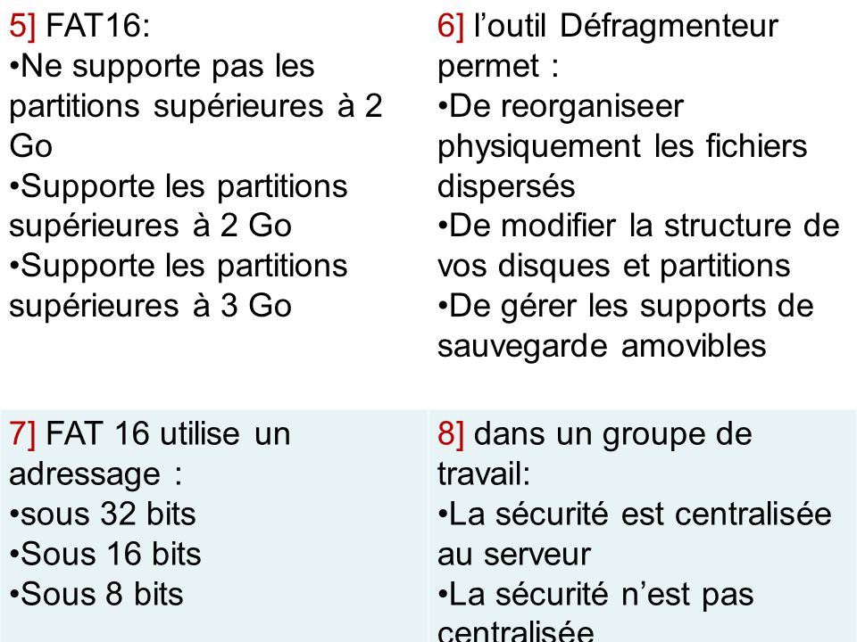 5] FAT16: Ne supporte pas les partitions supérieures à 2 Go. Supporte les partitions supérieures à 2 Go.